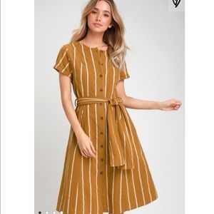 Dark Mustard Yellow Striped Midi Shirt Dress